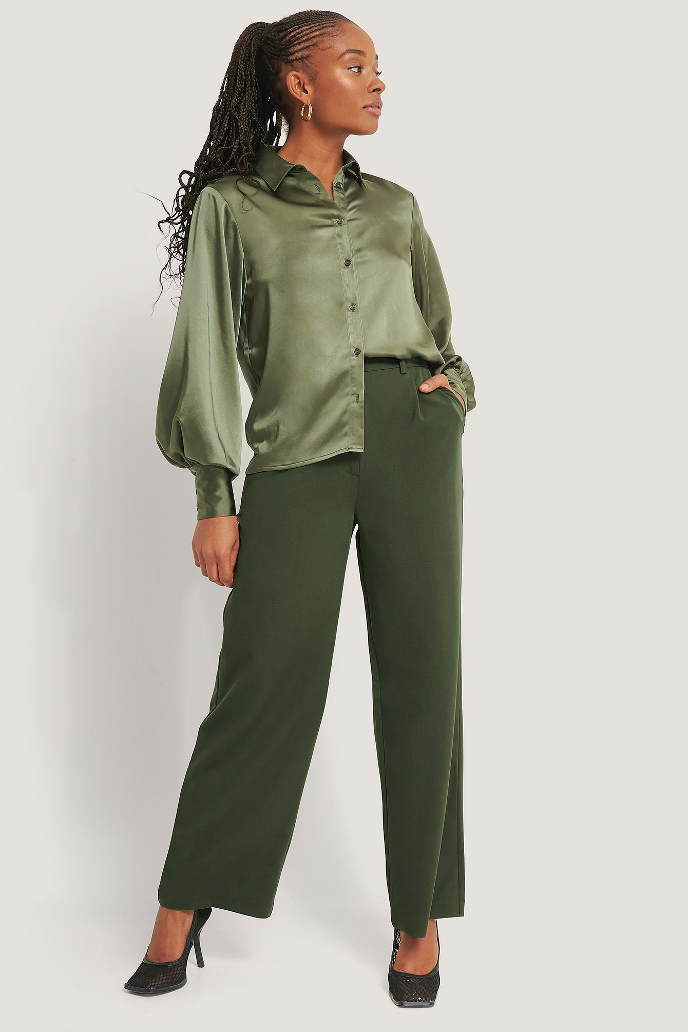 Khaki Wide Leg Suit Pants