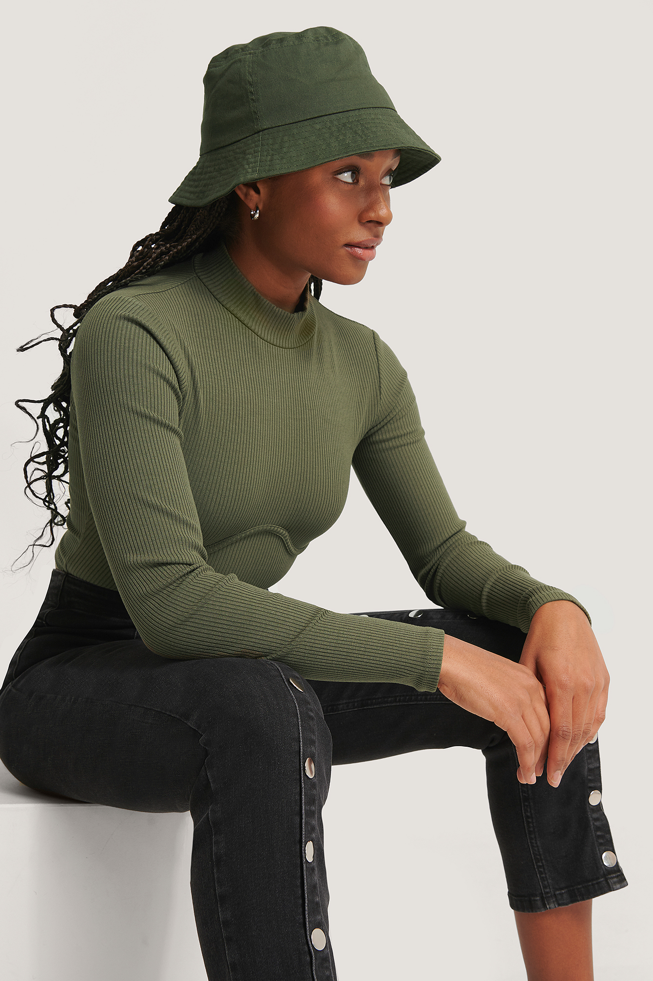 Dark Green Wire Detail Jersey Top
