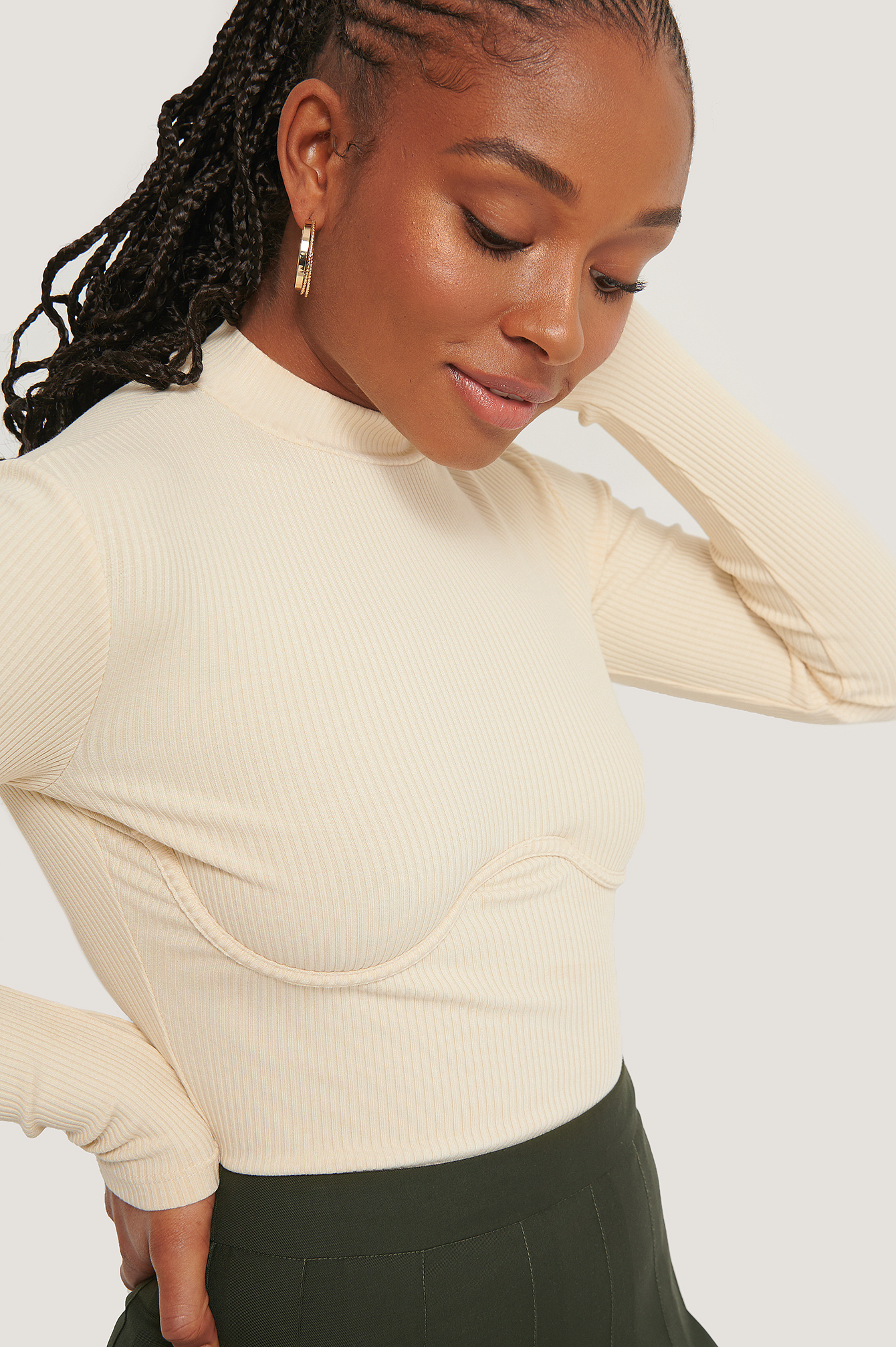 Romy X Na-kd Wire Detail Jersey Top Nude In Cream