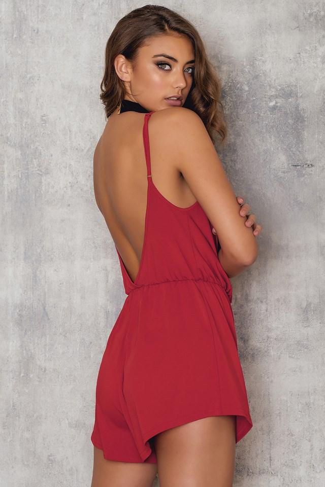 Coloured Draped Romper Red