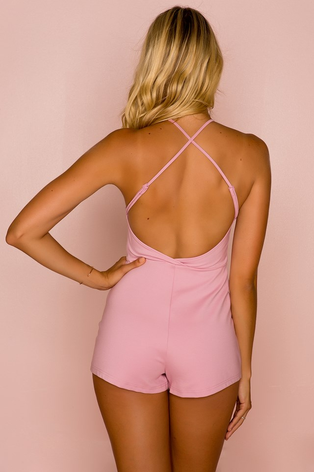 Twist Front Romper Dusty Pink