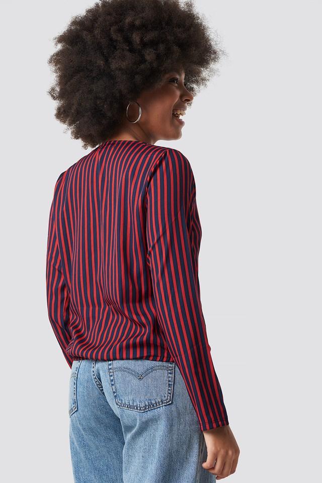 Alex Stripe Wrap Blouse Blue/Red