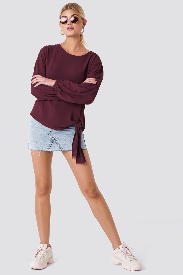 Amera open Sleeve Blouse Wine Red