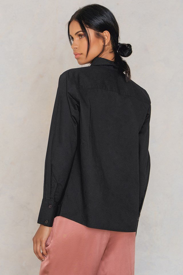 Ebba emb shirt Black