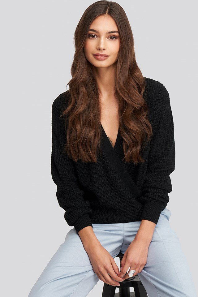 Samira Wrap Knit Black