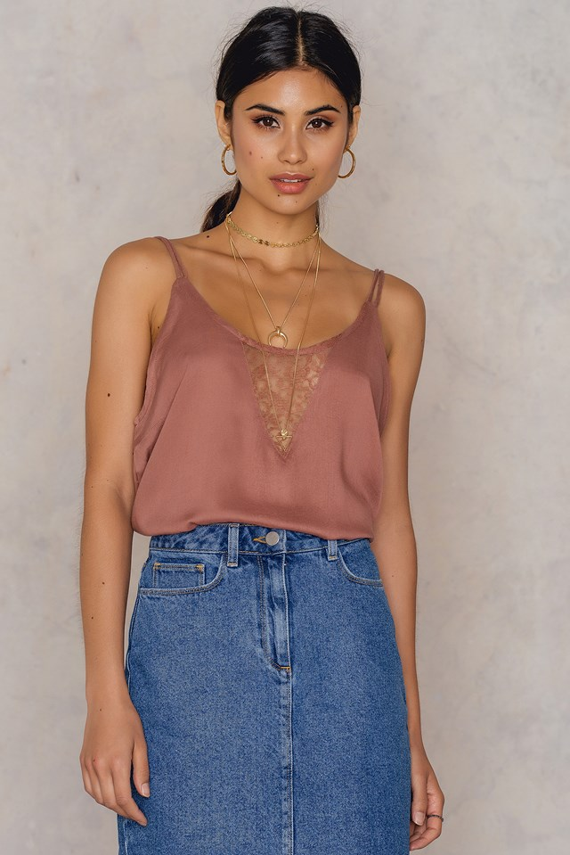 Aniston lace singlet Canyon Pink