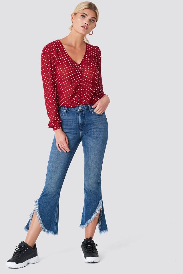 Raw Asymmetric Hem Jeans Blue Wash