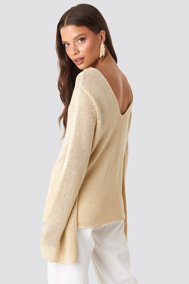 Vanessa Back V-neck Knit Sand
