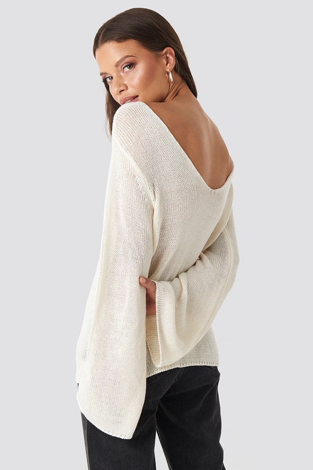 Vanessa Back V-neck Knit Off White