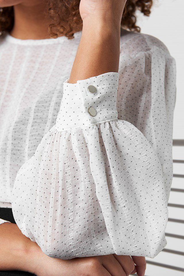 Balloon Sleeve Dot Blouse White Comb