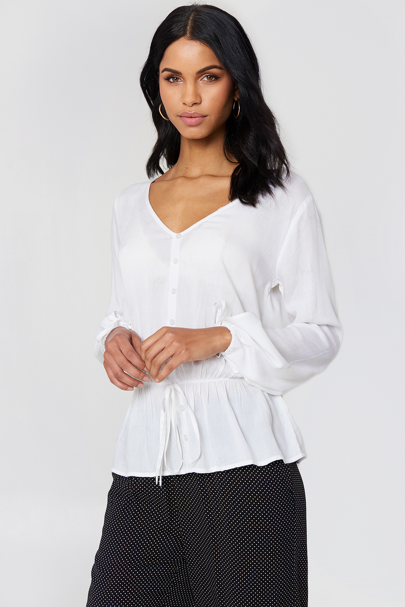 RUT & CIRCLE Beline Button Blouse - White