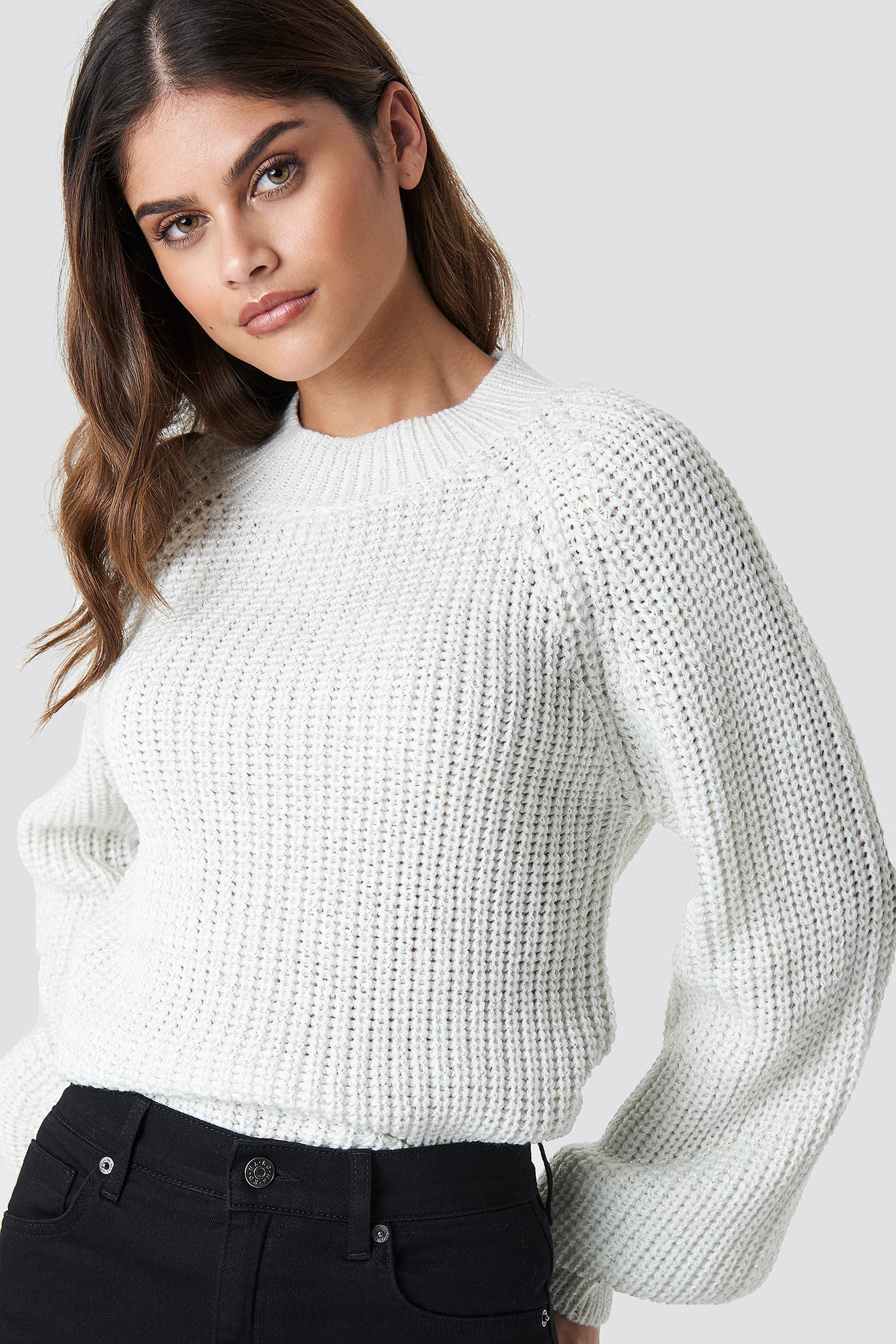 rut&circle -  Bell Sleeve Lurex Knit - White