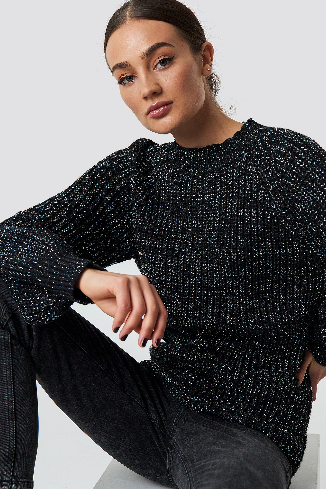 rut&circle -  Bell Sleeve Lurex Knit - Black