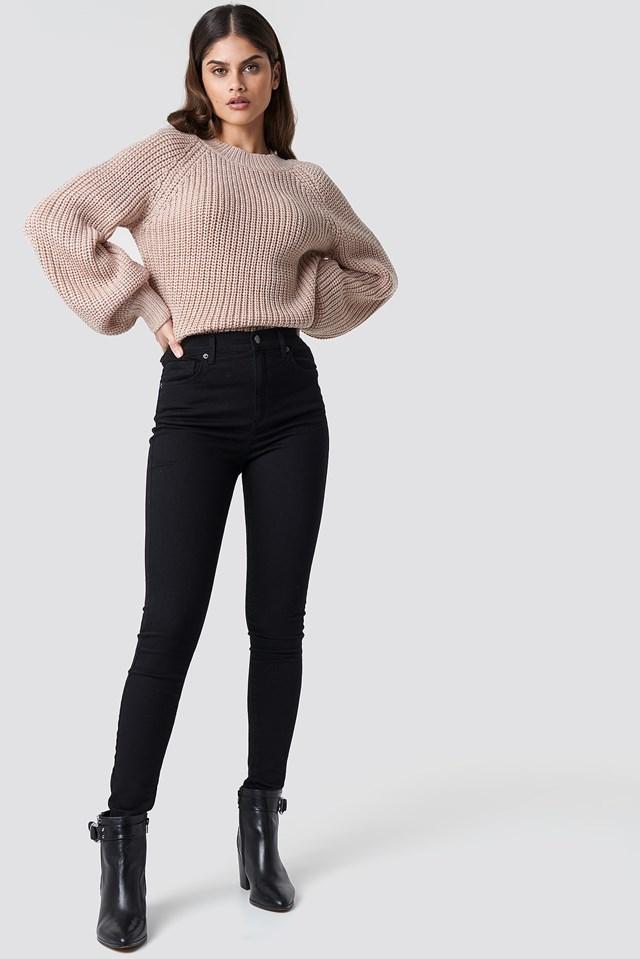 Bell Sleeve Lurex Knit Pastel Pink