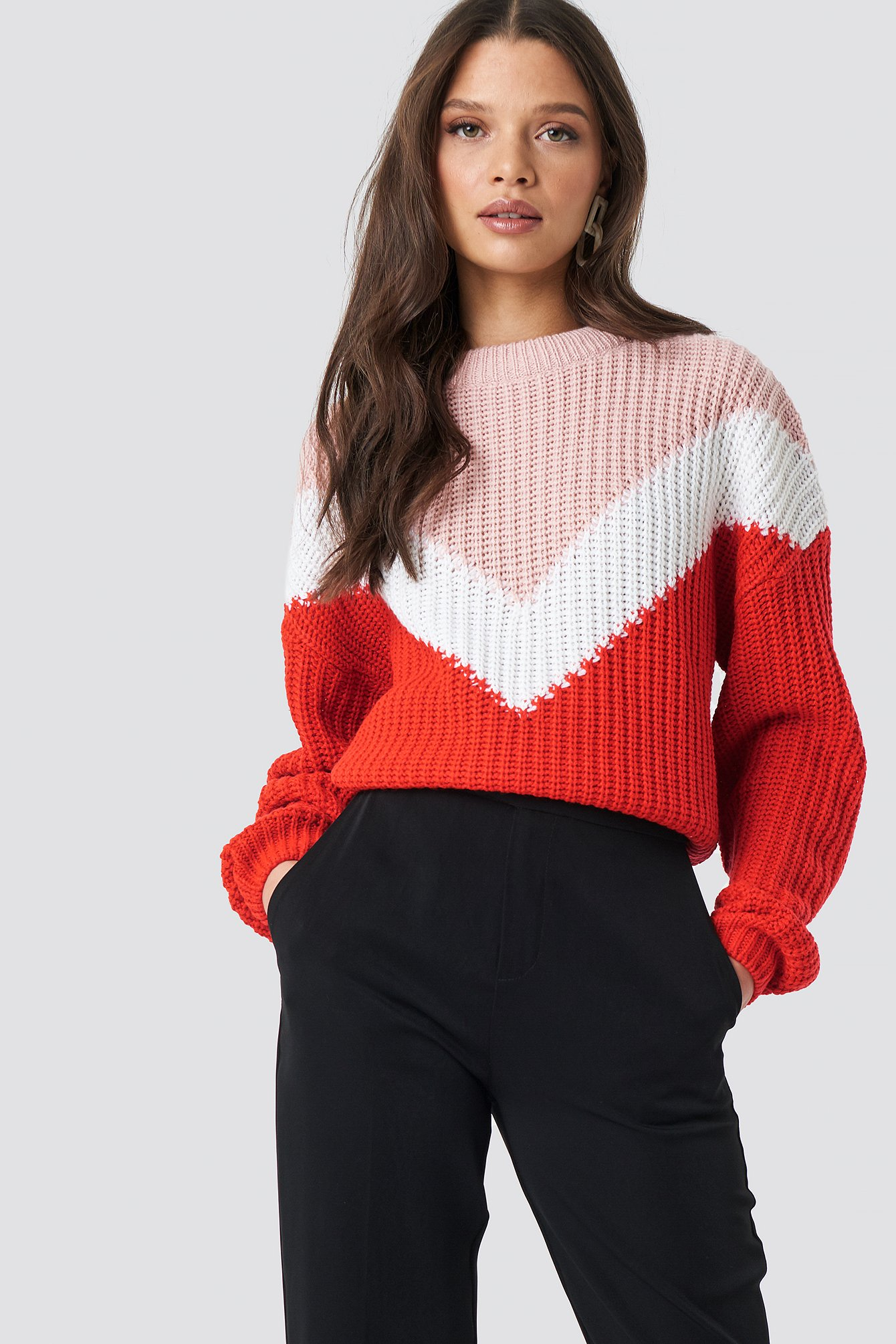 rut&circle -  Block V Knit - Pink,Red,Multicolor