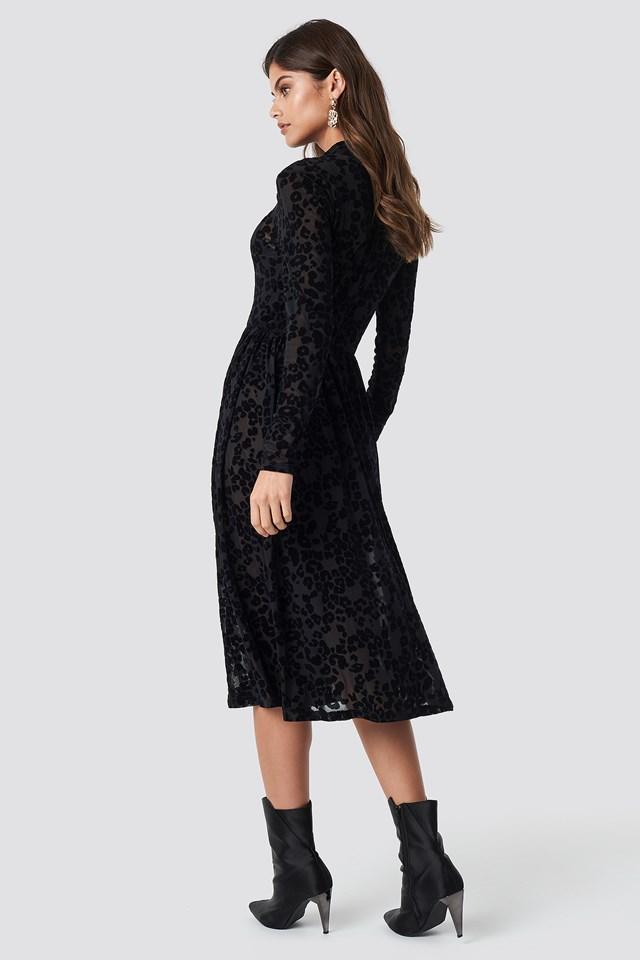 Burnout Velvet Dress Black