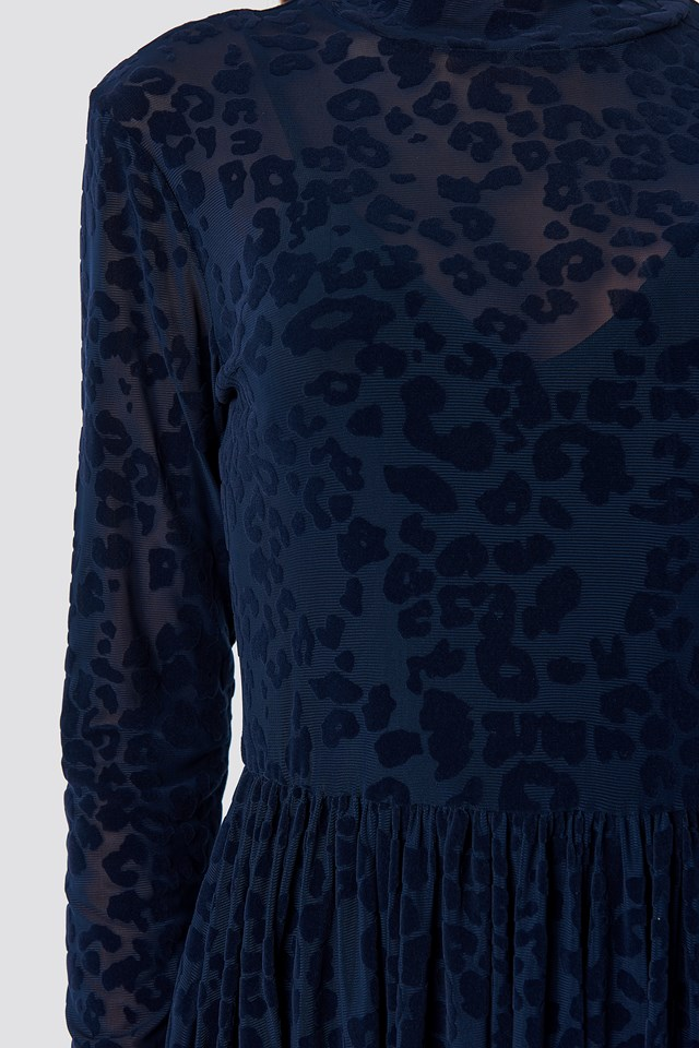 Burnout Velvet Dress DK Navy