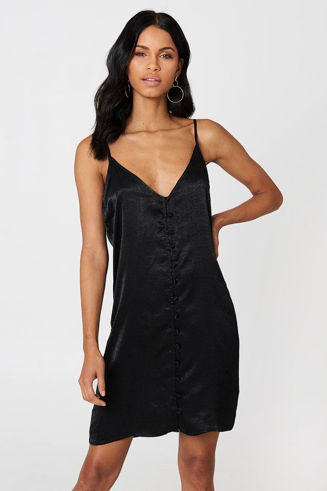 Button Dress Black