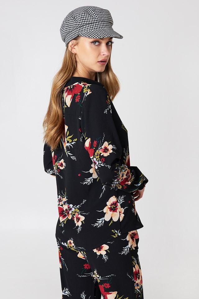 Carina Flower Blouse Black Combo