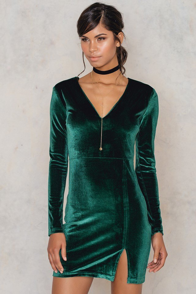 Caroline velvet dress Emerald Green