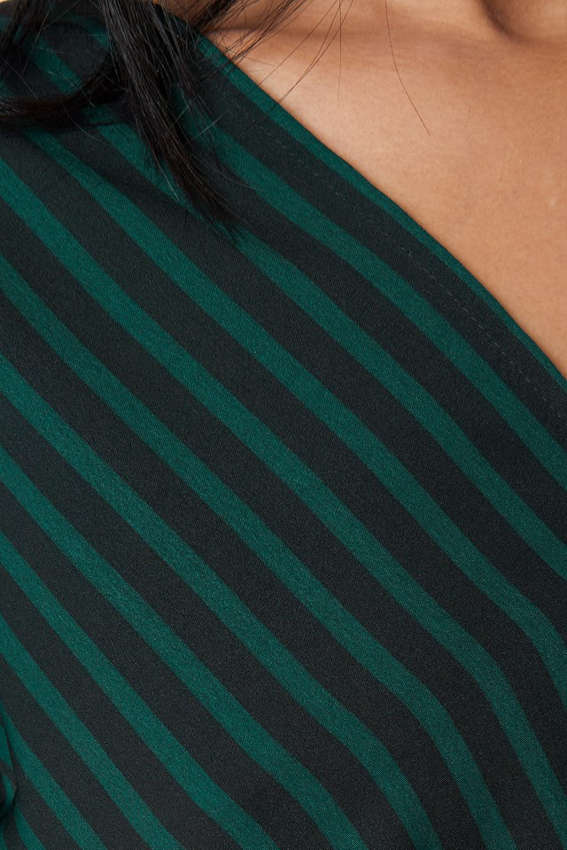 Alex Stripe Wrap Blouse Green/Black