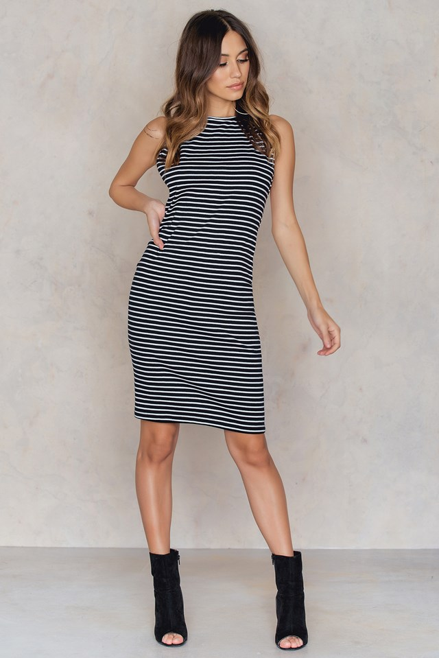 Aya Stripe Rib Dress Black/White