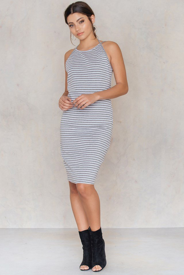 Aya Stripe Rib Dress Grey/White