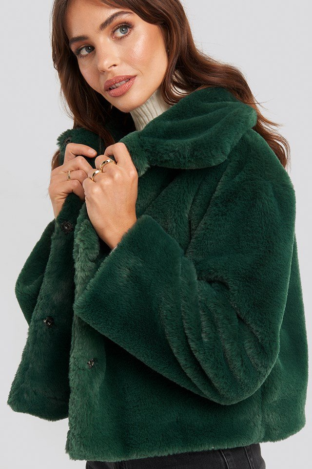 Elin Faux Fur Short Jacket Emerald Green