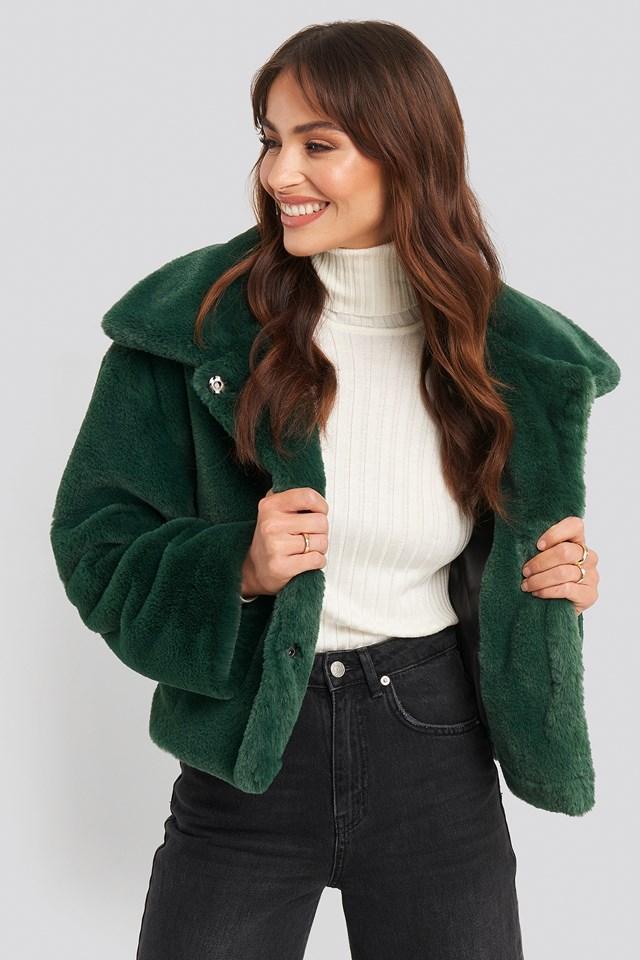 Elin Faux Fur Short Jacket Emerald Green
