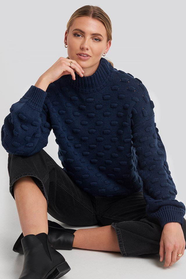 Liza Jacquard Knit Midnight Navy