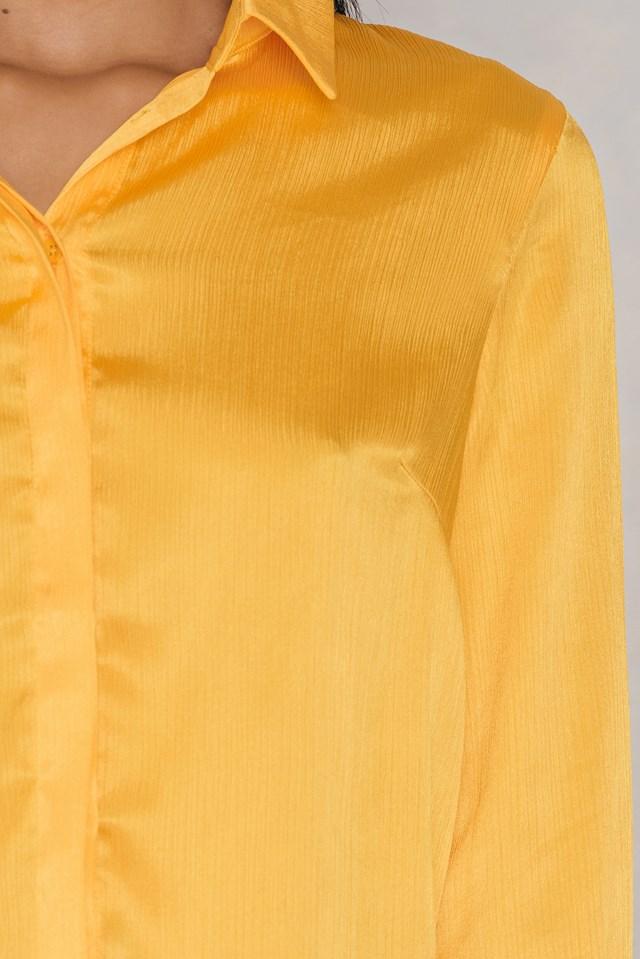 Maci Pleat Shirt Yellow
