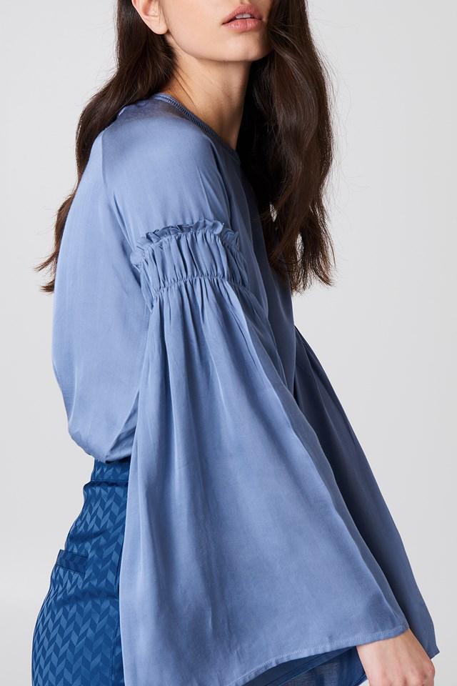 Clara Detail Sleeve Blouse Stone Blue