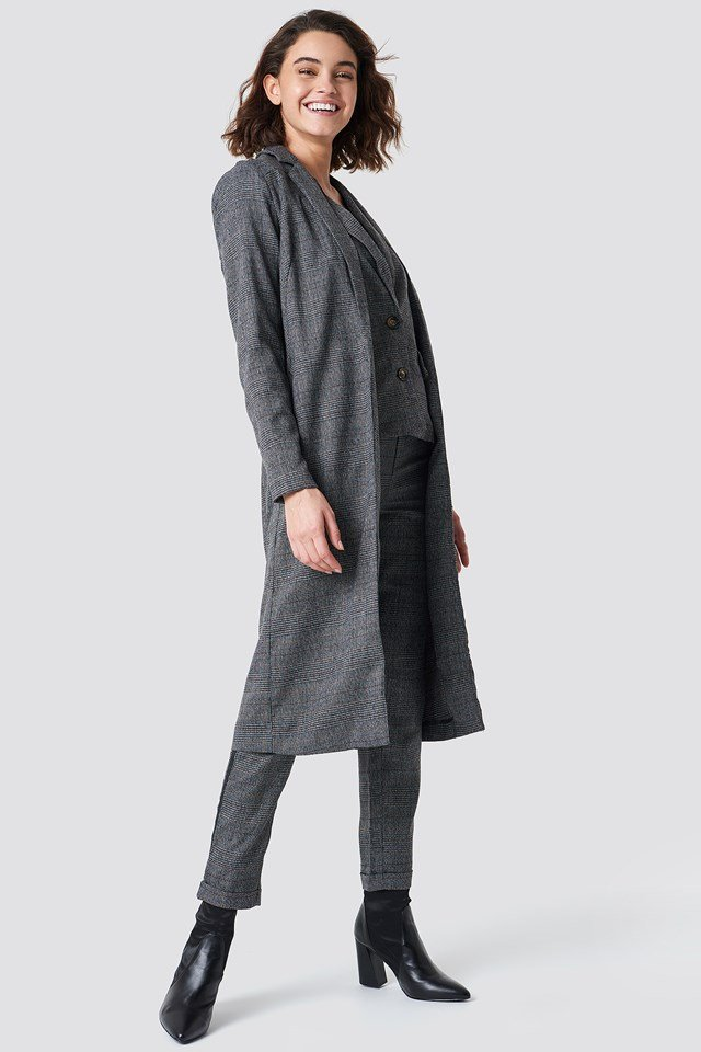 Dark Check Long Jacket NA-KD.COM