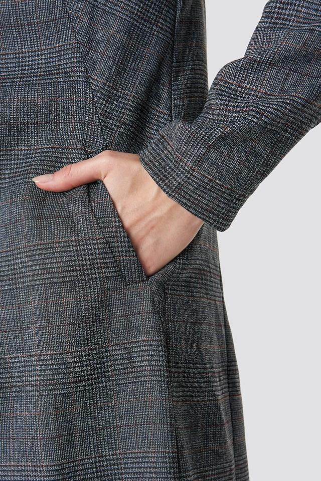 Dark Check Long Jacket NA-KD.COM