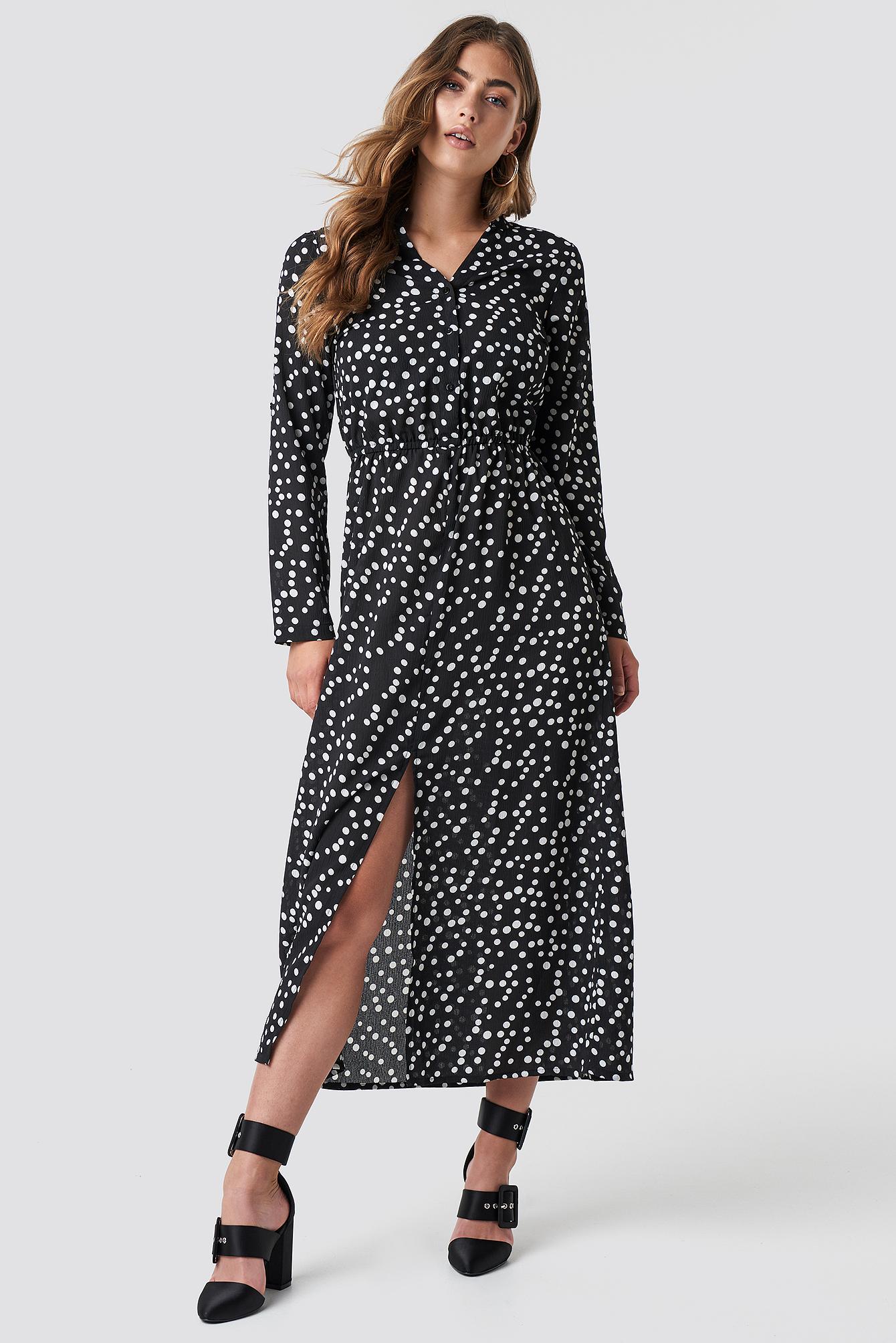 RUT & CIRCLE DOT LONG DRESS - BLACK