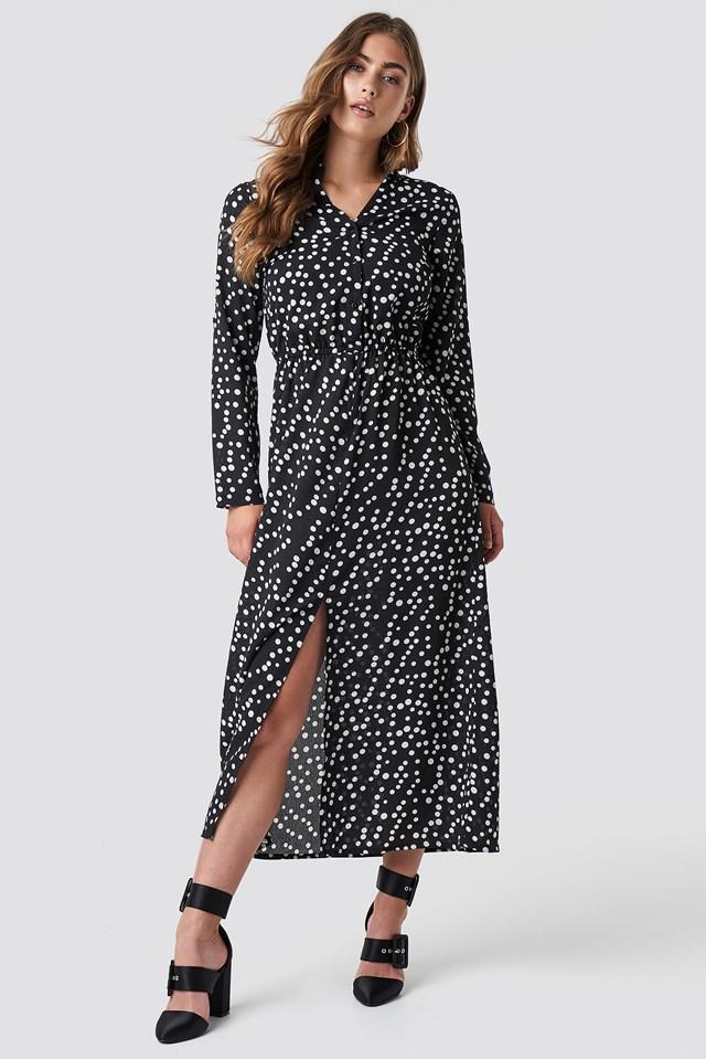Dot Long Dress White Dots