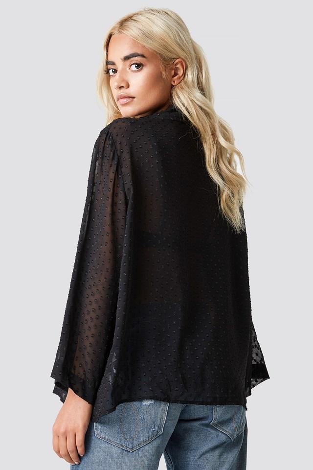 Dot Sheer Blouse Black