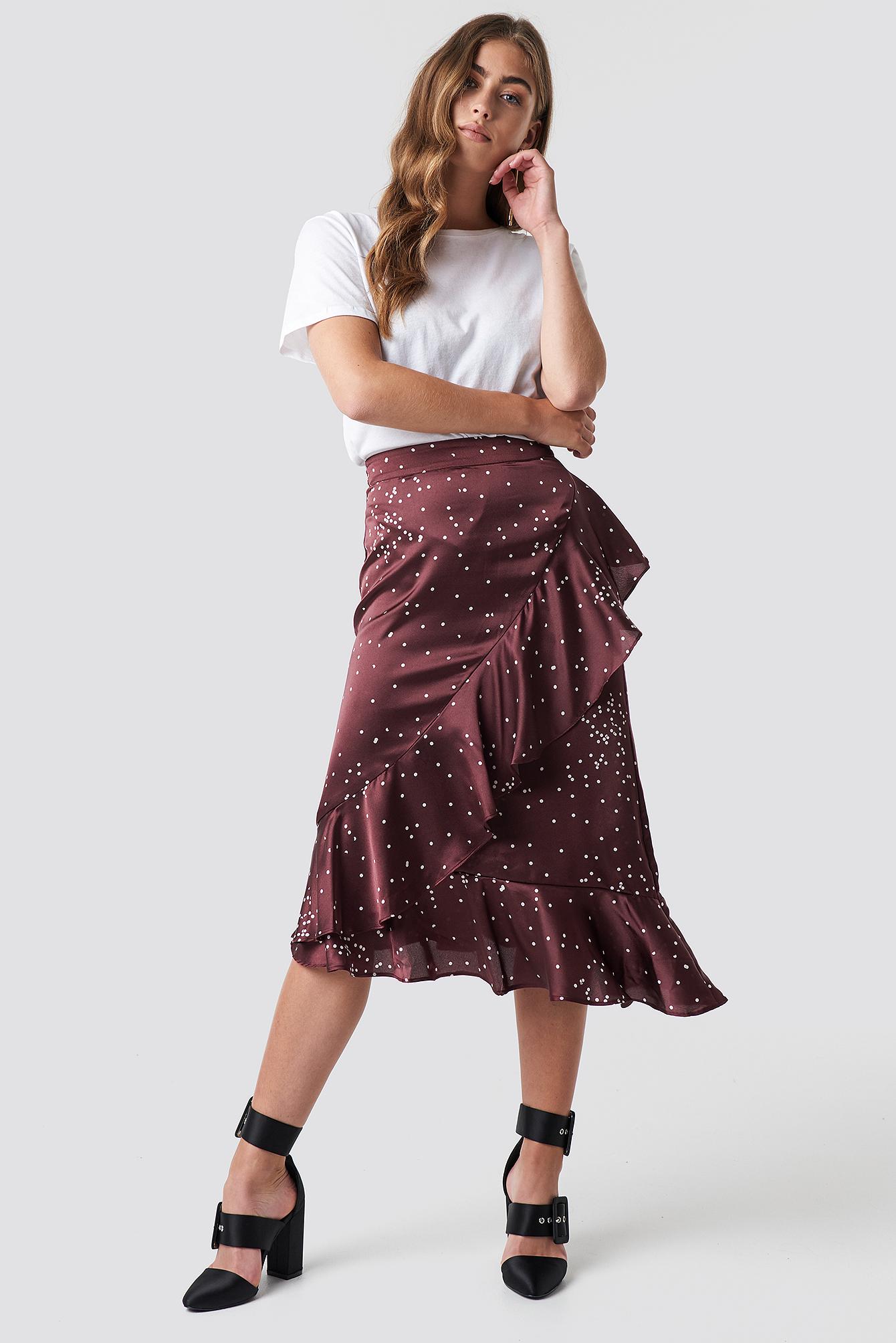 rut&circle -  Dotty Frill Skirt - Red
