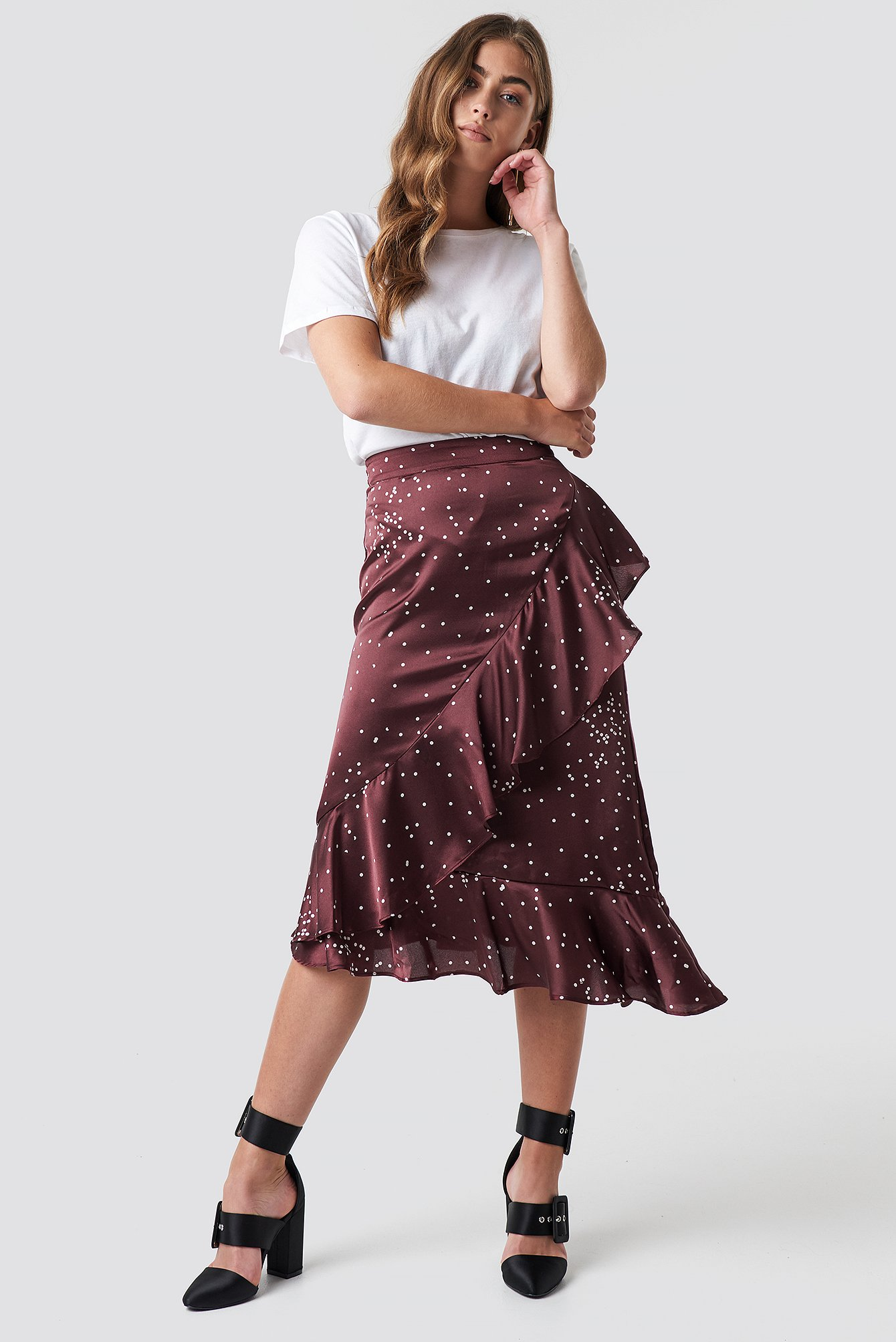 Dotty Frill Skirt NA-KD.COM