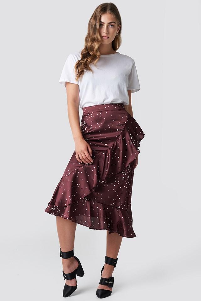 Dotty Frill Skirt Wine Red