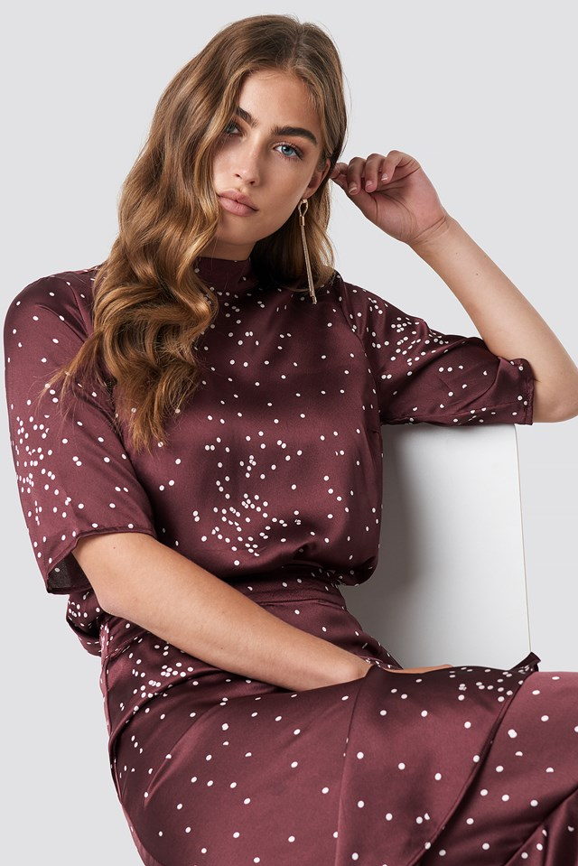 Dotty Short Sleeve Blouse Wine Red