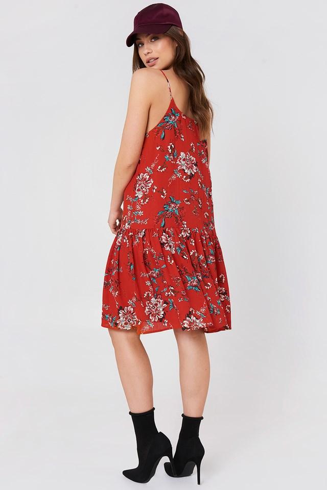 Fatima Dropped Waist Dress Red Combo