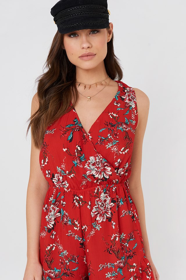 Fatima Playsuit Red Combo