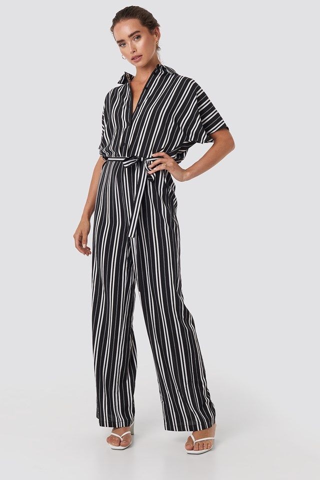 Felicia Jumpsuit Black/White Stripe