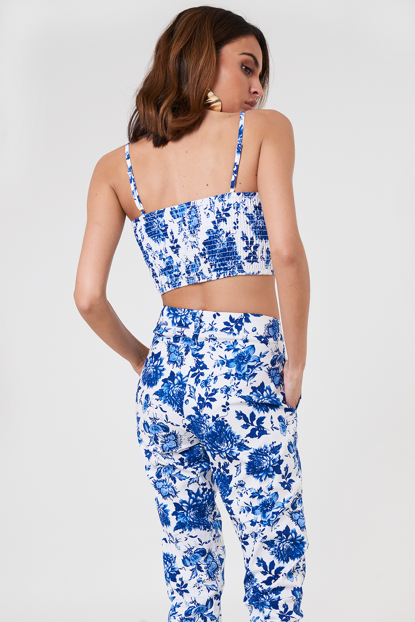 Blue Comb Flower Cropped Top