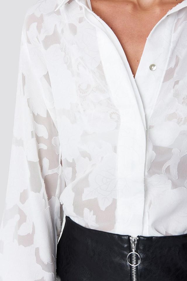 Flower Emb Blouse White
