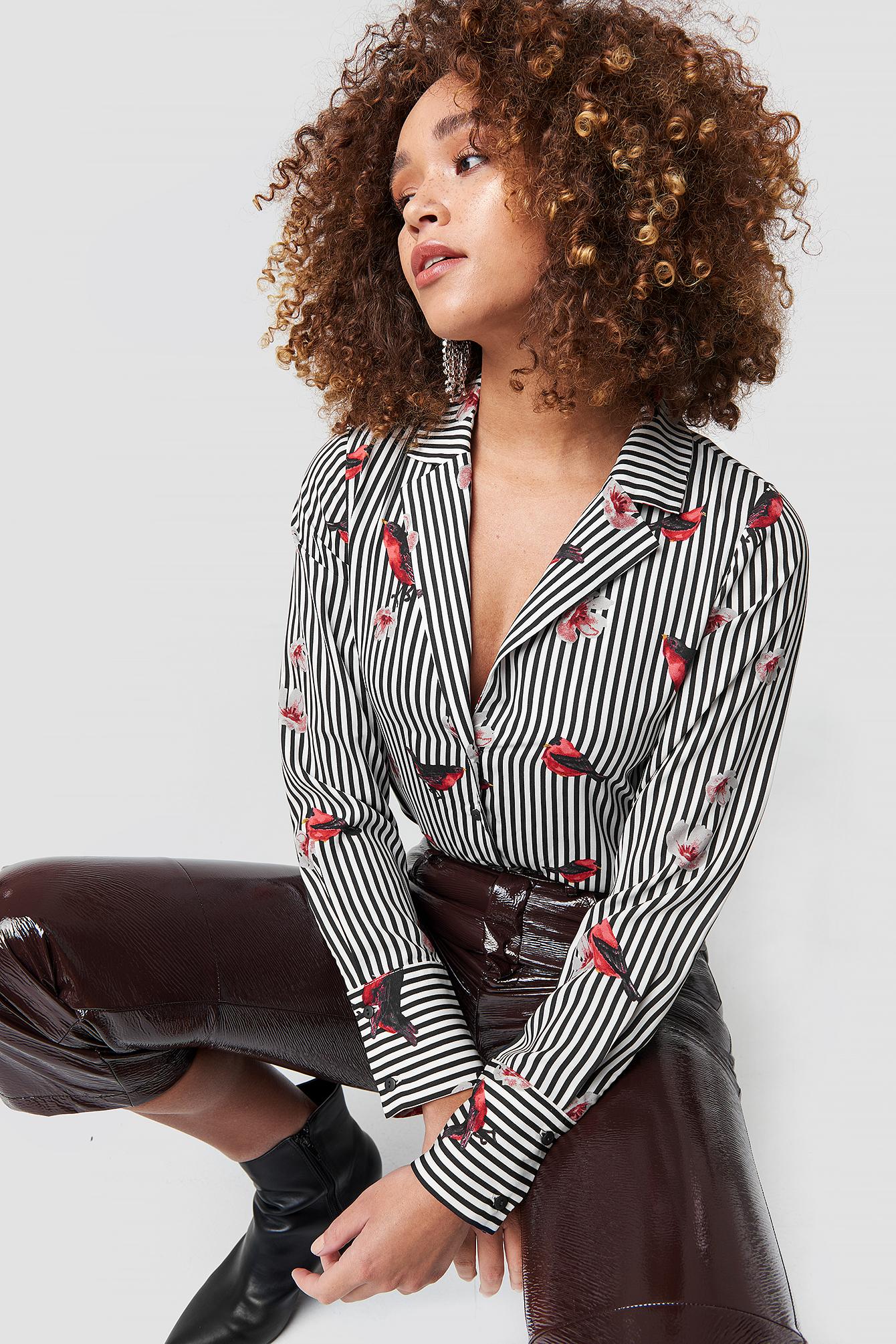rut&circle -  Flower Stripe Shirt - Multicolor