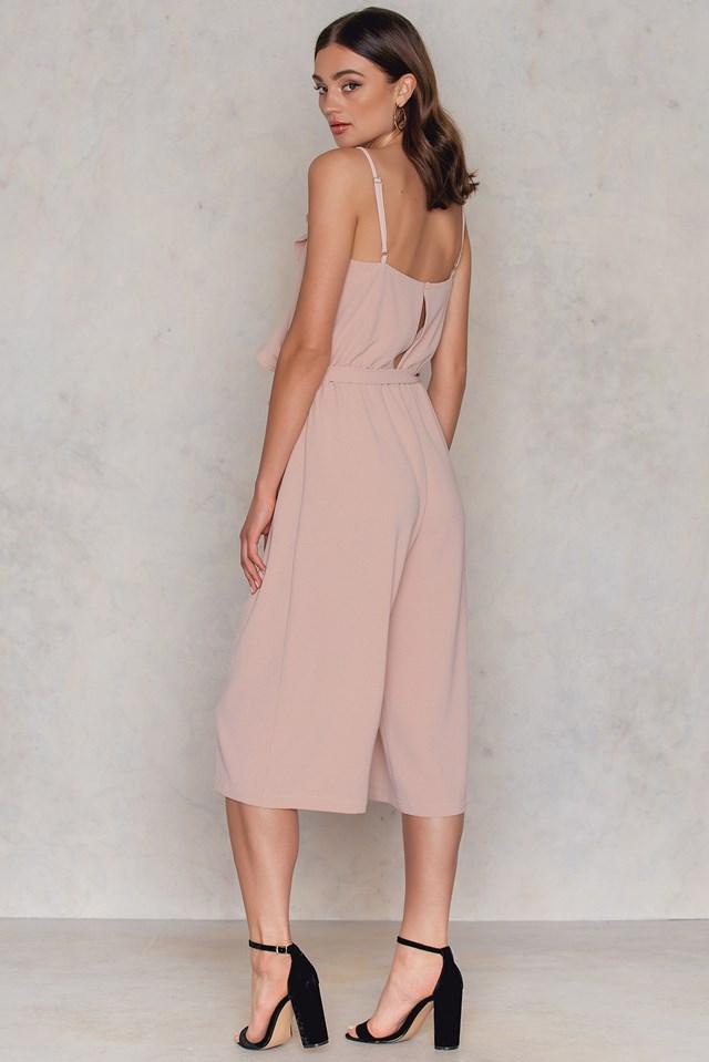 Delia frill jumpsuit Dusty Pink