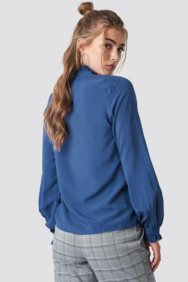 Frill Polo Blouse Blue