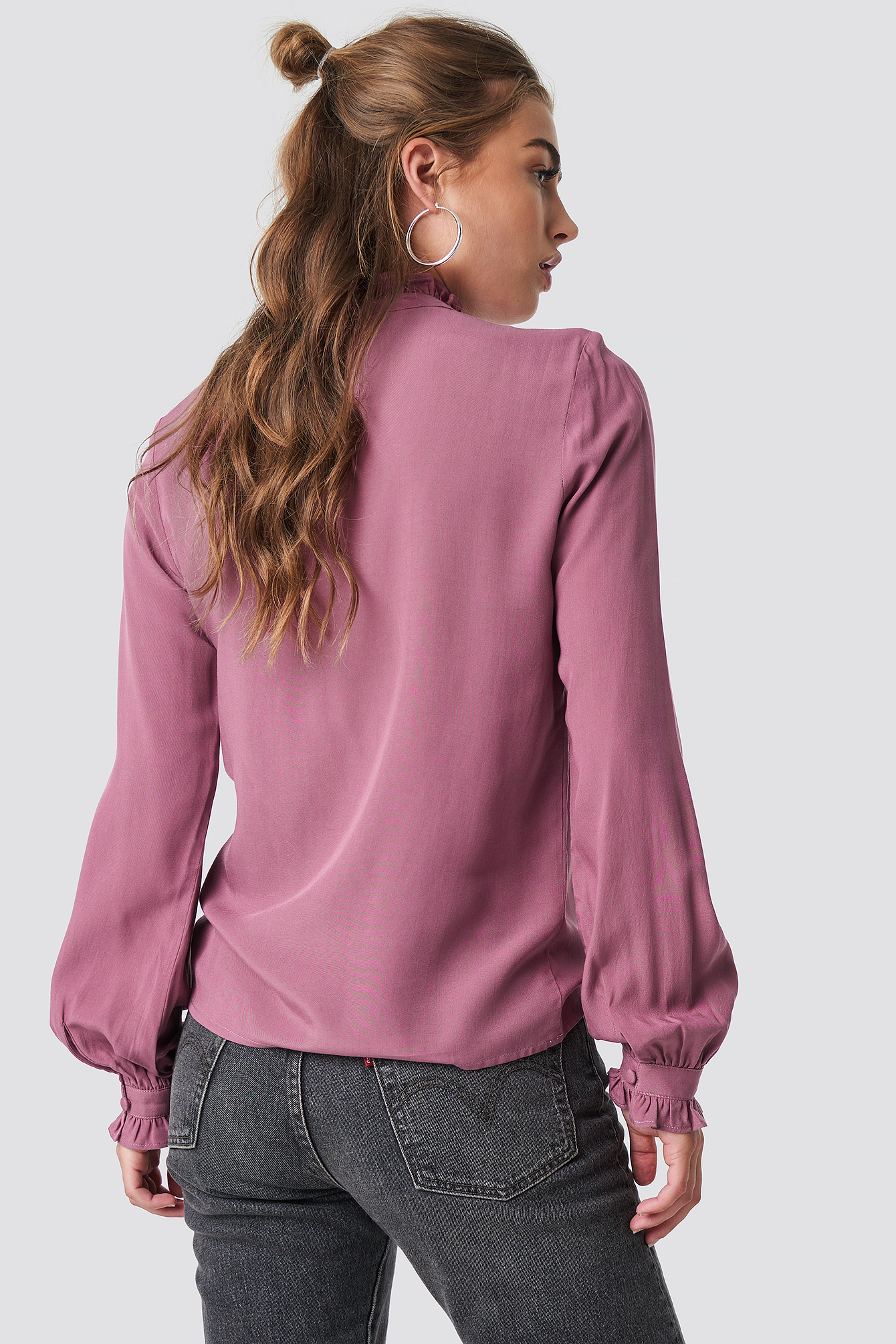 Old Rose Frill Polo Blouse